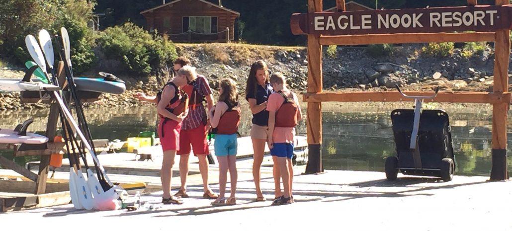 Kayaking staging at Eagle Nook Resort