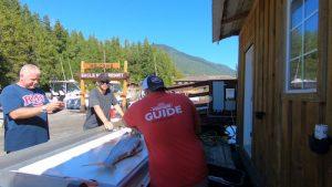 filleting salmon at eagle nook resort